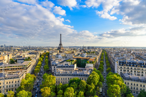 Beautiful view of Paris from the roof of the Triumphal Arch. Champs Elysees and the Eiffel Tower