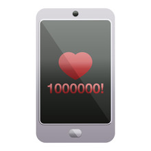 Mobile Phone Showing 1000000 Likes Graphic Icon