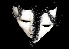 Destruction. White Theatrical Mask