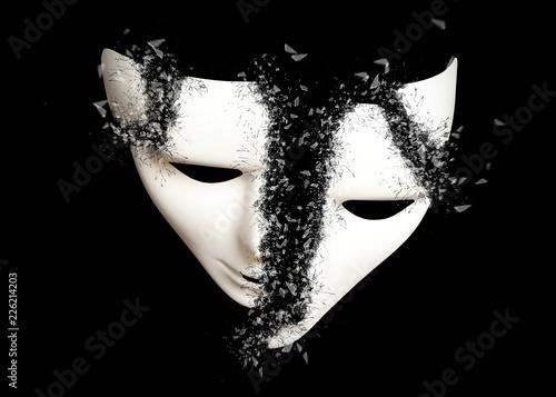 Fotografie, Obraz  Destruction. White theatrical mask
