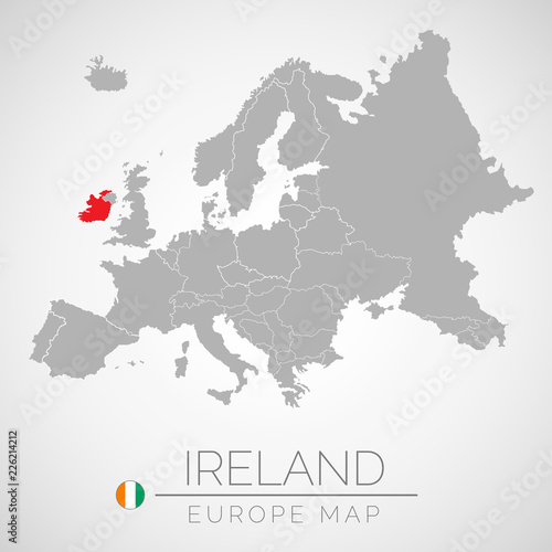 Map of European Union with the identication of Ireland Canvas Print