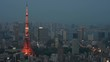 Video of Tokyo city skyline dominated by Tokyo Tower, Japan