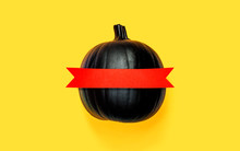 Black Pumpkin With Red Banner ...