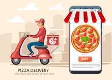 Smiling Pizza Delivery Courier And Smartphone With App. Food Courier On Red Retro Scooter With Trunk Case Box. . Cartoon Character Design. Flat Vector Illustration On City Landscape Background