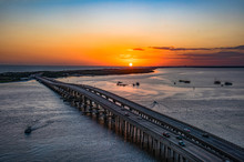 Sunset Aerial Over Destin, Flo...
