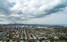 Aerial View Of West Gate Bridge And Melbourne City On Cloudy Day