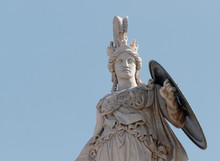 Athena Marble Statue Partial View, The Ancient Greek Goddess Of Knowledge And Wisdom