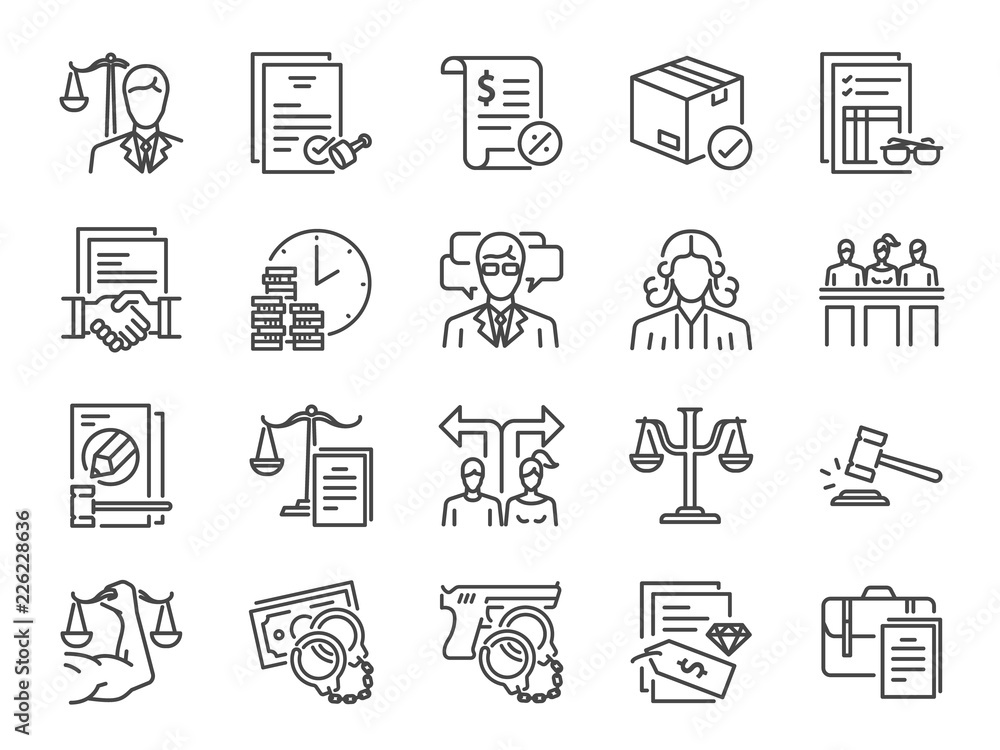 Fototapeta Legal services icon set. Included icons as law, lawyer, judge, court, advocacy and more.