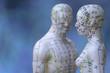 canvas print picture - Männliches und weibliches Akupunkturmodell vor blauem Hintergrund