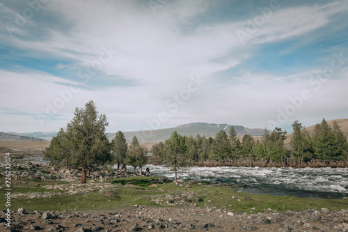 Fotobehang Cappuccino landscape with mountains, forest and a river in front. beautiful scenery