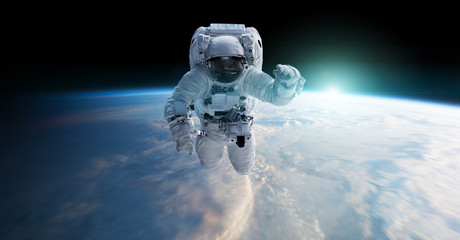 Fototapeta Astronaut floating in space 3D rendering elements of this image furnished by NASA