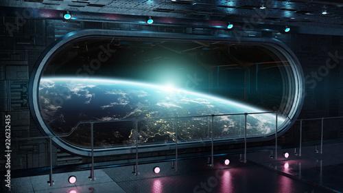 Black tech spaceship round window interior background 3D rendering