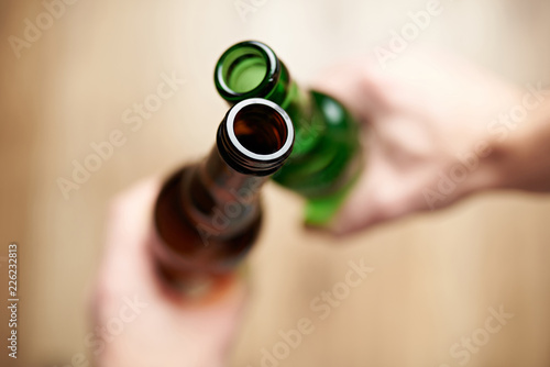 Tuinposter Bier / Cider Beer bottleneck close-up