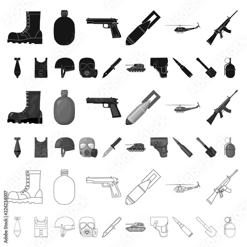 Photo Army and armament cartoon icons in set collection for design