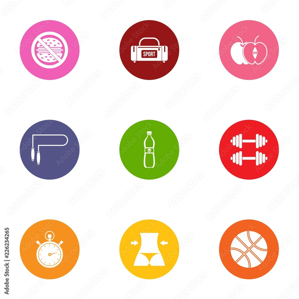 Fototapeta Workload icons set. Flat set of 9 workload vector icons for web isolated on white background