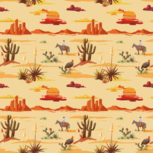 Vintage Beautiful Seamless Desert Illustration Pattern. Landscape With Cactus, Mountains, Cowboy On Horse, Sunset Vector Hand Drawn Style Background