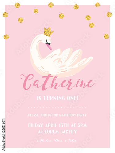 Fototapeta Baby Birthday Invitation Card With Illustration Of Beautiful Swan And Golden Glitter Dots Arrival Announcement Greetings In Vector