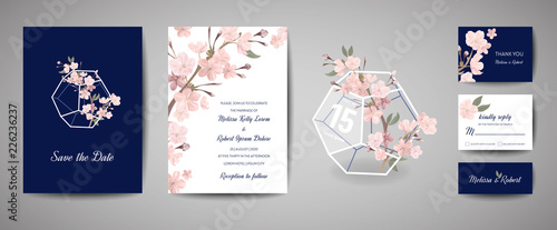 Set of Botanical retro wedding invitation card, vintage Save the Date, template design of sakura flowers and leaves, cherry blossom illustration Wallpaper Mural