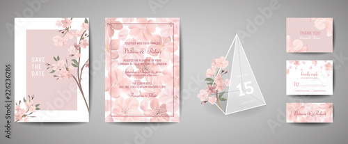 Obraz na plátně Set of Botanical retro wedding invitation card, vintage Save the Date, template design of sakura flowers and leaves, cherry blossom illustration