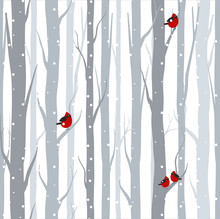 Vector Illustration Of Seamless Pattern With Grey Trees Birches And Red Birds In Winter Time With Snow In Flat Cartoon Style.
