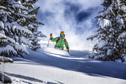 Offpiste skiing in deep powder snow Wallpaper Mural
