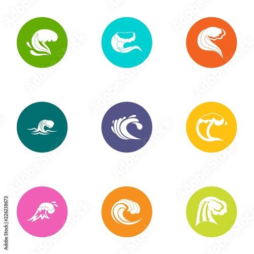 Photo  Rolling wave icons set