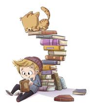 Niño Leyendo Libros Con Gato Jugando