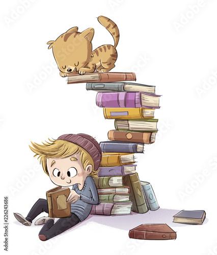 Vászonkép niño leyendo libros con gato jugando