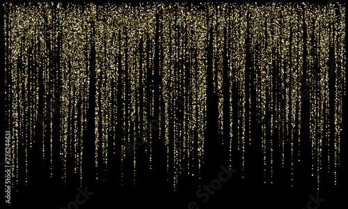 Fotografie, Obraz  Garland lights gold glitter hanging vertical lines vector holiday background