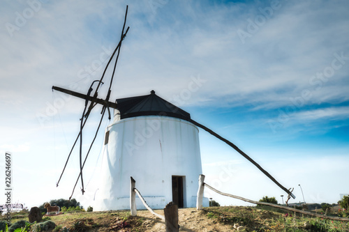 Fotobehang Molens Windmill in Vejer de la Frontera, a beautiful town in the province of Cadiz, in Andalusia, Spain