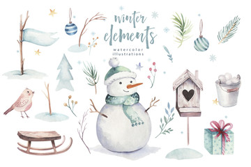 Fototapeta Boho Watercolor Merry Christmas illustration with snowman, holiday cute animals deer, rabbit. Christmas celebration cards. Winter new year design.