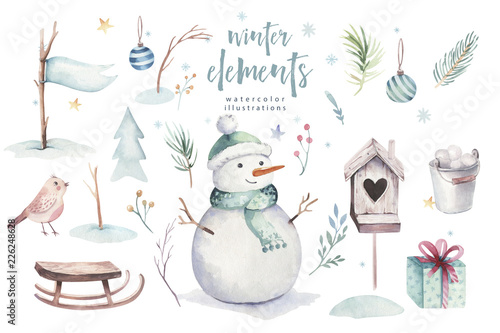 Christmas Illustration.Watercolor Merry Christmas Illustration With Snowman