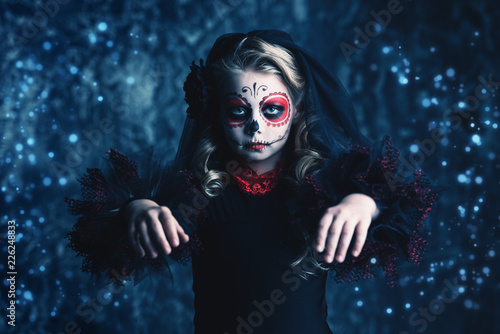 Spoed Fotobehang Halloween little calavera catrina