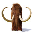 canvas print picture woolly mammoth, prehistoric mammal front view isolated with shadow on white background (3d illustration)