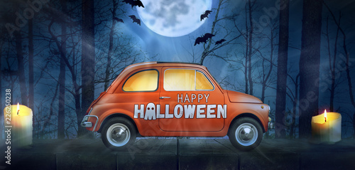 Happy Halloween car against...