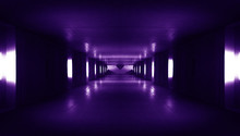 Spaceship Corridor. Futuristic Tunnel With Light. Of Empty Sci Fi Futuristic Dark Room With Light Blue Lights