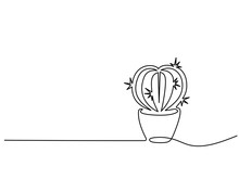 Continuous One Line Drawing. House Cactus In Pot. Vector Illustration