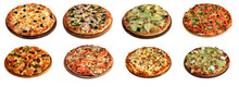 Set Of Different Pizzas Isolat...