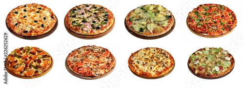 Fototapeta Set of different pizzas isolated on white obraz