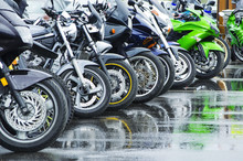 Motorcycles Standing In The Ro...