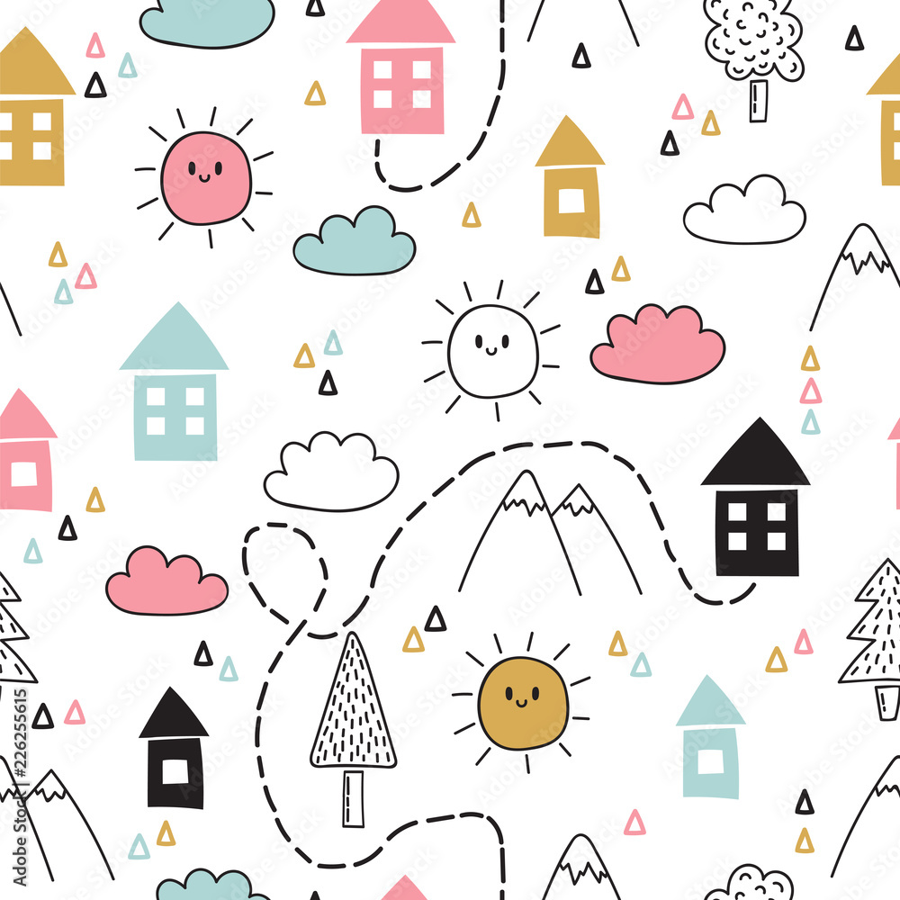 Hand drawn tribal seamless pattern with cartoon houses, trees and mountains. Creative ethnic scandinavian woodland background. Abstract geometric art print