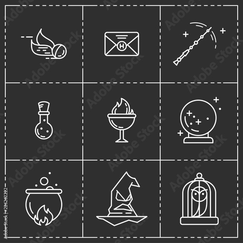 Magic vector icon set. Wallpaper Mural