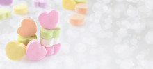 Pastel Candy Hearts On A Silve...