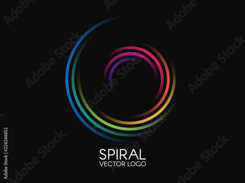Obraz Spiral logo. Round logotype design. Color swirl on black background. Dynamic shape concept. Abstract colorful element. Creative logo. Vector illustration - fototapety do salonu