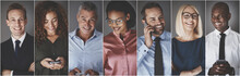 Diverse Group Of Smiling Businesspeople Using Cellphones