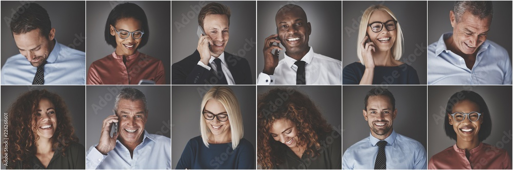 Fototapeta Diverse group of businesspeople smiling and talking on cellphone