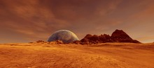 Extremely Detailed And Realistic High Resolution 3D Illustration Of A Mars Like Exoplanet