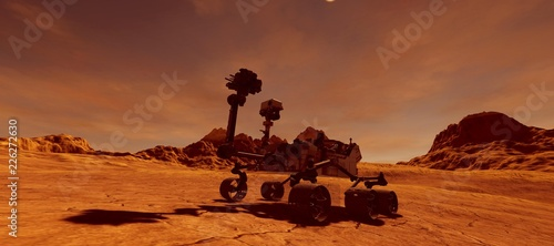 Cuadros en Lienzo Extremely detailed and realistic high resolution 3d illustration of Mars Exploration Vehicle Curiosity searching for life on Mars like planet