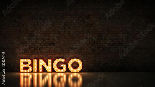 Photo Neon Sign on Brick Wall background - Bingo. 3d rendering
