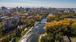 Khabarovsk Park in the city center. city ponds. autumn. the view from the top. taken by drone.